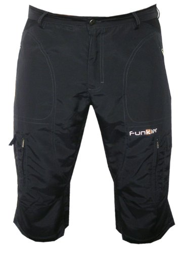 Funkier Bike Men's 3/4 Baggy Mountain Bike Shorts, Black, XX