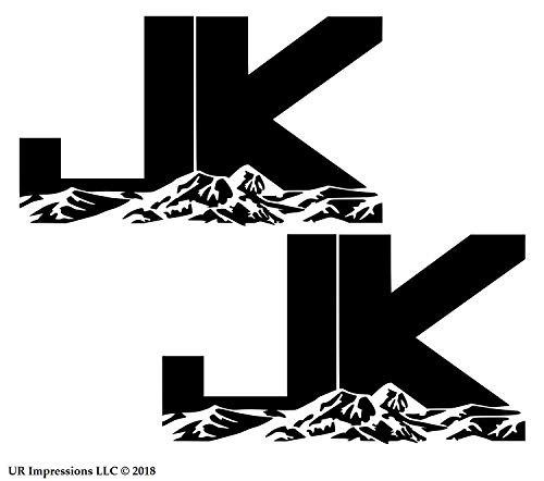 UR Impressions Blk 6.3in. JK Mountains 2-Pack Decal Vinyl Sticker Graphic for Jeep Wrangler 4x4 Unlimited Sahara Rubicon Moab Overland Arctic SUV Walls Windows Laptop|Black|6.3 X 3.7 Inch|URI687-B ()