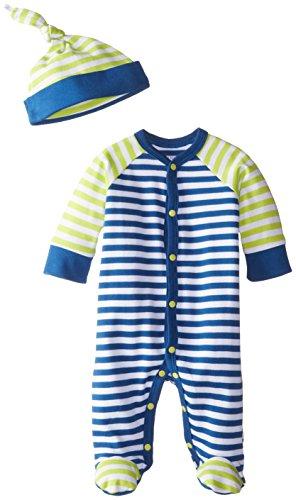 Offspring - Baby Apparel Baby-Boys Newborn Footie with Hat, Blue Stripe, 6 Months