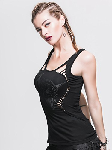 Devil Fashion schwarzes Top Weste Drache Knoten-Design Gothic Visual Kei
