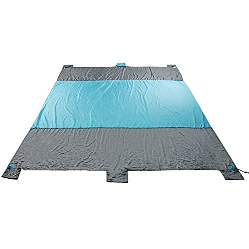 Cowboy Sleep Mat (Beach Blanket Waterproof Sand Free 201T Nylon Taffeta Fabric Ripstop Compact Outdoor Picnic Mat Grey and Blue 8.86x6.89ft Includes 4 Metal Pegs and 6 Pockets)