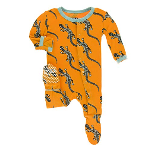 Kickee Pants Little Boys Print Footie with Snaps - Apricot Bead Lizard, 3-6 Months