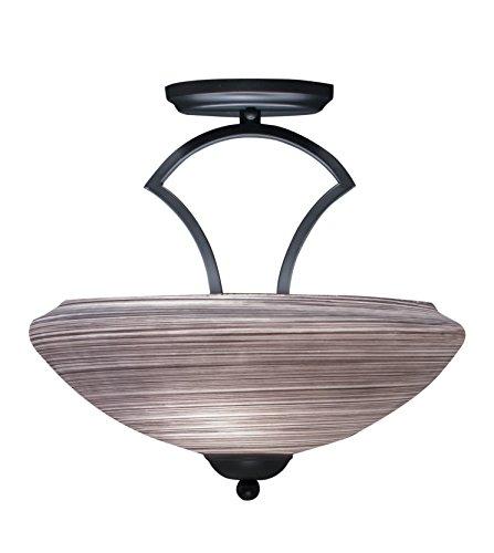 Toltec Lighting 563-MB-685 Zilo Semi Flush with 2 Bulbs with 14″ Zilo Gray Linen Glass, Matte Black Finish
