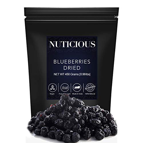 NUTICIOUS Natural Dried Whole Blueberries-450 ge (Gourmet Food Premium Quality)