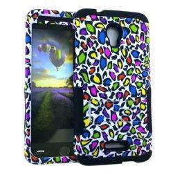 UnlimitedCellular Hopper Hybrid Case - Design Hopper Case. Colorful Leopard Print Snap&Black Ski(A