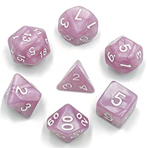 Polyhedral Dnd Dice Set - Complete 7-Die Pearl Dice for Dungeons & Dragons Dice Games, Pathfinder, Magic The Gathering (MTG), Math Games and More