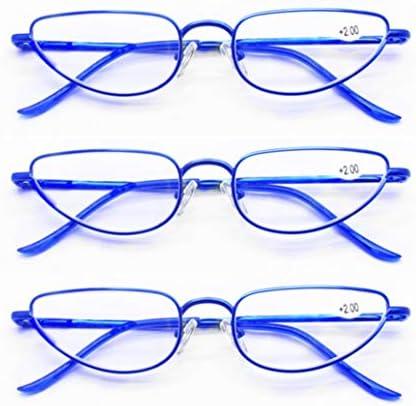 高齢者(3個)のための老眼鏡老眼鏡、ポータブル抗疲労老眼鏡、フルフレーム金属老眼鏡、ユニセックス屋外老眼鏡、 (Color : Blue, Size : +1.0x)
