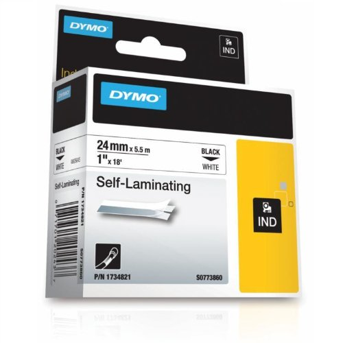 (DYMO Industrial RhinoPro Self-Laminating Labels for DYMO Industrial Rhino Label Makers, Black on White, 1