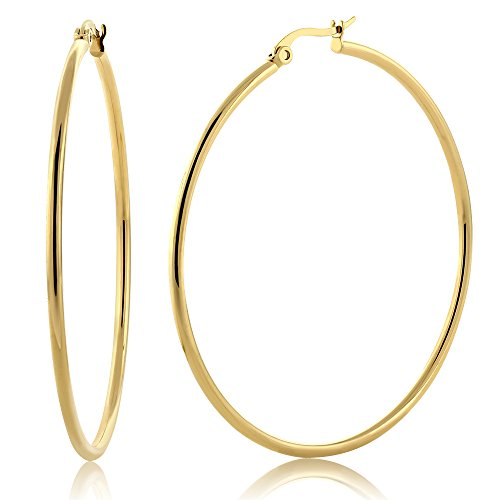 - Gem Stone King 2inches Stunning Stainless Steel Yellow Gold Plated Hoop Earrings (50mm Diameter)