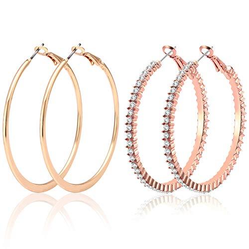 - PHALIN 2 Pairs Hoop Earrings for Women Rhinestone Inlaid Circle Earrings Crystal Dangle Earring Hoops Jewelry Set (D Rose Gold + Gold)