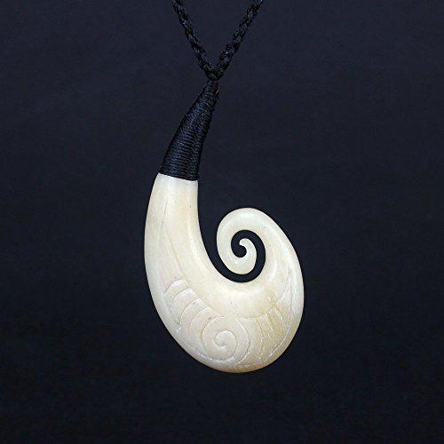 Cow Bone Maori tribal Spiral/Koru with Hand Carved Fern Leaf Pattern Design 55mm Pendant Necklace