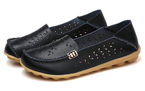 Flat Breathable Loafer Women's VenusCelia Black Natural Walking aOq4z0w