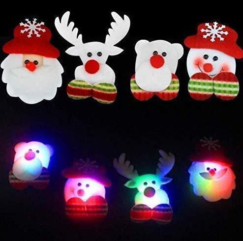 Gwill 8 Pack Christmas LED Flashing Light Up Snowman Brooch Santa Claus Badges Pins Xmas Gift
