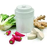 Raw Rutes - 2 Liter White German Style Fermentation Crock Pot For Fermenting Sauerkaut, Kimchi and Pickles!