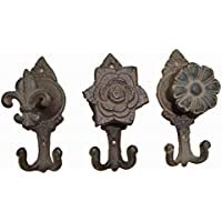 Salome Idea Antique Cast Iron Key Rack, Vintage Coat Hook, Shabby Chic Wall Hooks, (Flower Cambo, SET of 3PC)