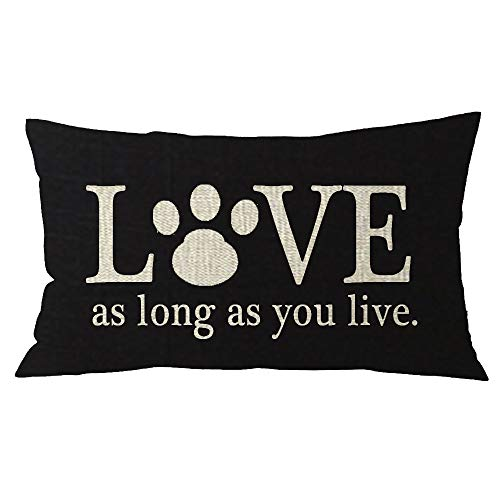 NIDITW Nice Sister Birthday Gift with Inspirational Words Bunny Paw Prints Black Burlap Lumbar Throw Pillow Covers Pillow Case Pillow Sham Home Sofa Decorative Oblong Rectangle 12x20 inches (Black)