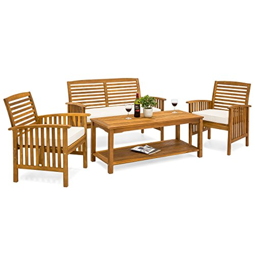 Best Choice Products Slatted 4-Piece Acacia Wood Sofa Set w/Water Resistant Cushions