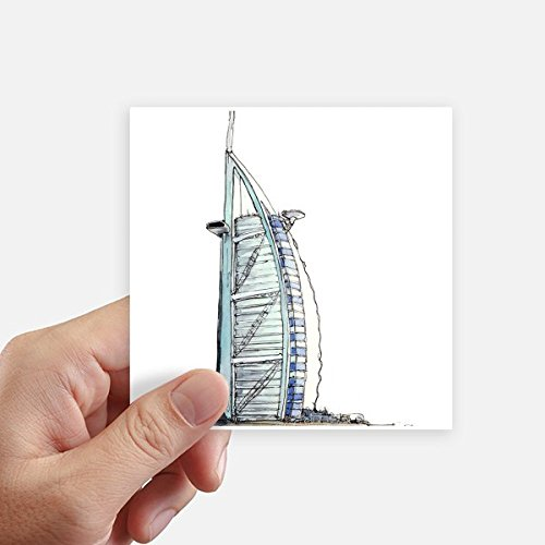 DIYthinker Burj al-Arab luxury hotel Dubai Square Stickers 10cm Wall Suitcase Laptop Motobike Decal 8pcs by DIYthinker