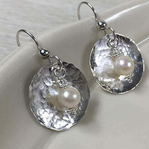JANECKA Sterling Silver Earrings, 3/4 Inch Disk with 7mm Freshwater Pearls, Hand Forged Jewelry