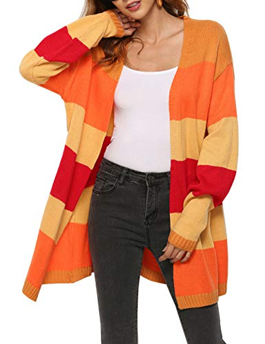 (Womens Oversized Cardigan Long Sleeve Open Front Cable Knit Cardigan Coat Stripe Sweater Coat)