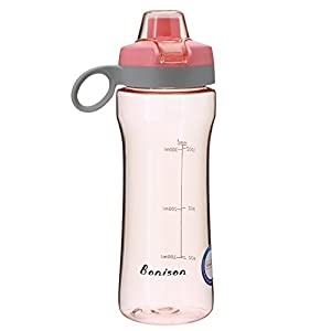 BONISON 14 OZ Kids Water Bottle With Flip Top Lid Leak Proof Bpa Free Drinking Water Bottle For School Running Outdoor Cycling And Camping Perfect Size For Kids-Pink