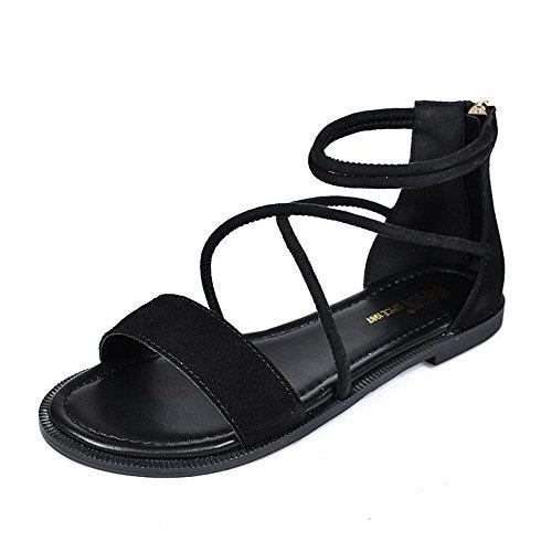 De Planas De Romanas Sandalias Playa Negro Zapatos Las Zapatos Negro Mujeres Ocasionales Verano Zapatillas con De Planos OdBqwvdPx