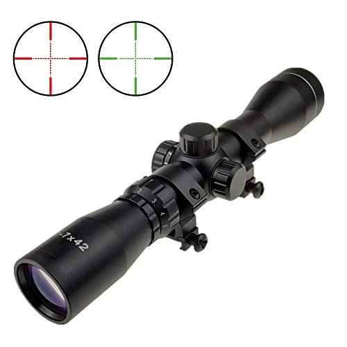 Persei 2-7x42 Long Eye Relief Scope Red Green llluminate Mil-dot/Rangefinder Reticle 30mm Tube Diameter Fits Mosin Nagant 1891/30 M39 with Mount Rings (Mil-dot Reticle)