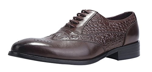 - ELANROMAN Mens Oxfords Dress Leather Classic Calfskin Shoes Crocodile Pattern Embossed Business Dress Shoes for Men Brown US 13 EUR 46 Foot Length 326.64mm