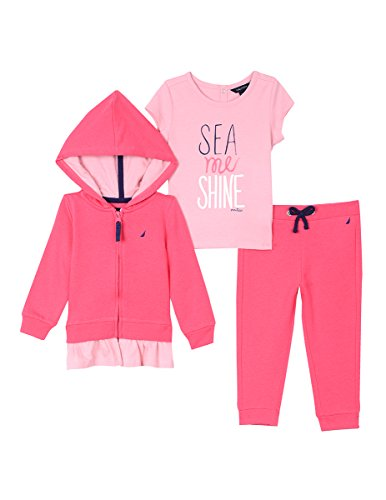 Nautica Baby Girls' Hoodie, Knit Top and Fleece Jogger, Bright Pink, 24 (Classic Update Hoody)