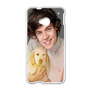 Happy Harry Styles Holding The Puppy Design Plastic Case Cover For HTC M7
