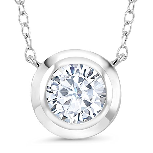 1.10 Ct Round 7.5mm White Created Moissanite 925 Sterling Silver Pendant With 18'' Chain by Gem Stone King
