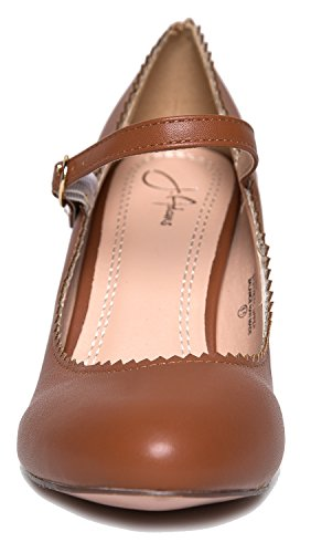 Retro Gattino Jane Tan Adams Pu Capesante Con J Vintage Mary Toe Jane Punta Retrò Round Rotonda Un With Pu Kitten Scallop A Scarpa Vintage Adams Tan Heels Mary Shoe Tacchi J x00C4watqT