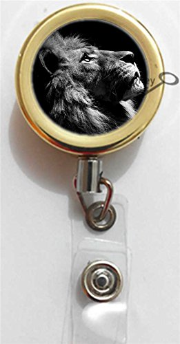 BlackKey Animal Lion Gold Retractable ID Card Badge Holder Reel with Lanyard & Belt Clip -1845