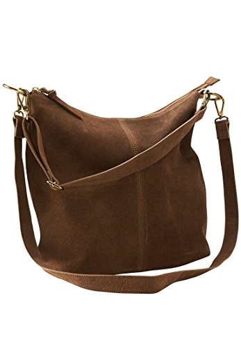 Zip Suede Hobo Handbag Pecan Brown,0 Lined Suede Shoulder Bag