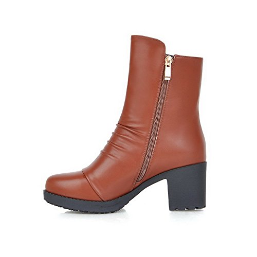 Allhqfashion PU Blend Toe Mid Brown Materials Kitten Round Women's Heels Closed Calf Boots qqRr5C1W4