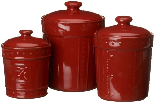Signature Housewares Sorrento Collection Canisters, Ruby Antiqued Finish, Set of 3 (Raised Leaf Pattern)