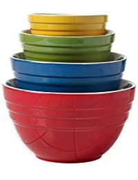 Gain Denmark Tools Ceramic Cooking and Mixing Bowls with Colorful Designs, Set of 4 by Denmark Tools offer