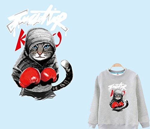 Cool hoodies boxing cat Patch For Clothes T-shirt Dresses Stickers Decoration Heat Press Appliqued from Animal Patch