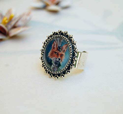 Fox Ring Victorian Fox Ring Animal Ring Portrait Ring Adjustable Ring