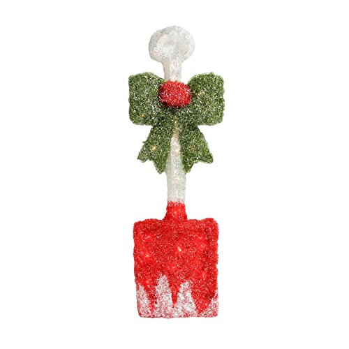By Alger 32'' Lighted Tinsel Snow Shovel with Bow Christmas Window Decoration by By Alger