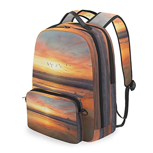 Stylish Laptop Backpack Travel Backpack with Removable Sling Bag Shoreline During Golden Hour