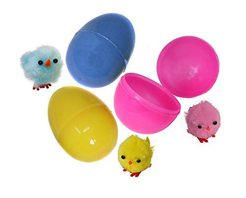 "Assorted Colors 2"" Easter Eggs With A Cute Little Chick Inside Bulk Pack Of 24 Pre-Filled Easter Eggs -"