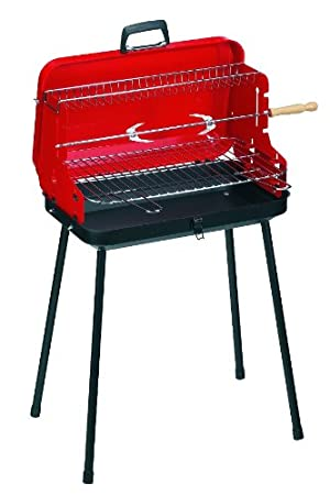 Alperk Camping - Barbacoa portátil, 49 x 36 x 82 cm, Color Rojo y Negro: Amazon.es: Jardín