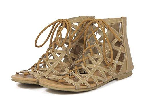 SHFANG Sandalias de las señoras Ocio Playa calzado PU Puño de goma cómodo Dew Toe Parte Turismo Compras 1cm Khaki