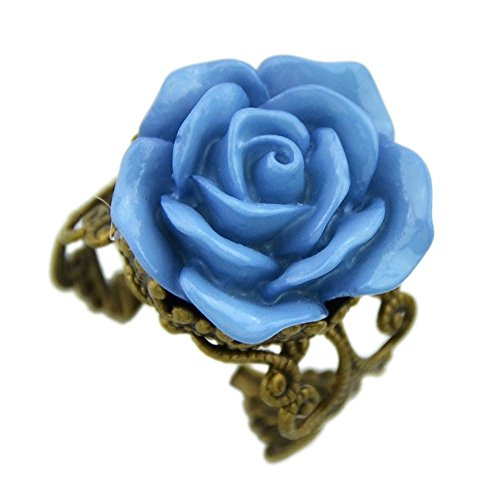 Style Flower Ring (Feelontop® Hot Sale Gothic Vintge Style Resin Rose Flower Adjustable Ring for Women with Jewelry Pouch)
