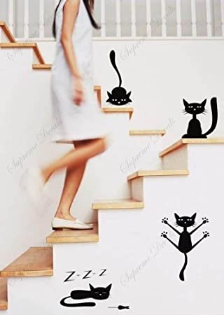 Amazon.com: Funny gatos Conjunto de 4 en negro- Árbol de ...