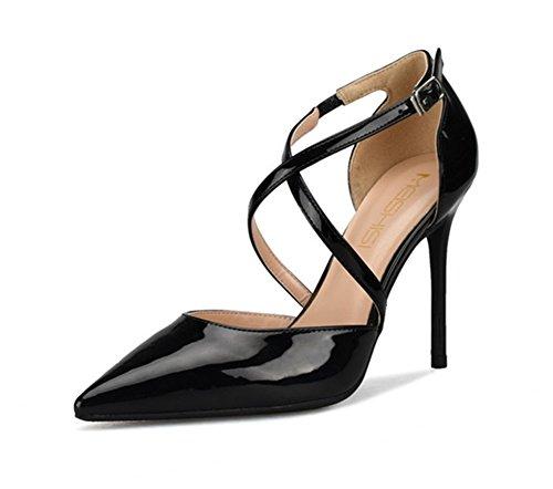 de pointu haut Pompes Fête forme Des Plate black Femmes Stylet Shoes Strappy cheville 44 Taille Chaussures Sangle Bout sandales Talon HN 35 qw4tPzZx