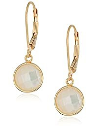 18k Yellow Gold Plated Sterling Silver Round Mother-of-Pearl 8mm Lever Back Earrings