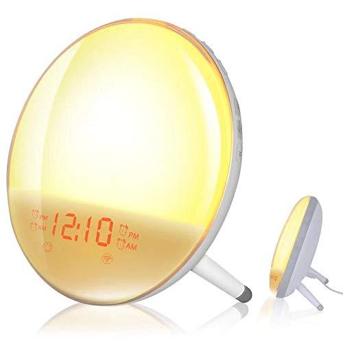 Smart Wake Up Light, Erauh Sunrise Alarm Clock Compatible with Alexa/Google, 7 Colors Sunrise Simulation and Sunset Fading, 4 Alarms/FM Radio/Snooze Night Light for Kids Adults Bedroom (WiFi)