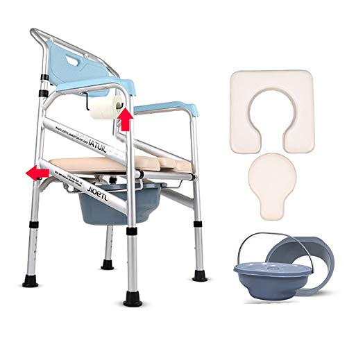 - WWJQ Foldable Commode/Shower Chair- Soft Stable XL Seat with Open Front, Backrest ArmrestsWaterproof Rust, Adjustable Height.